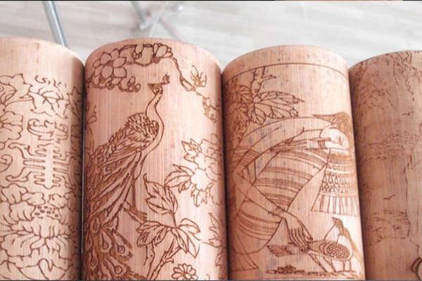 Laser engraving on column 1
