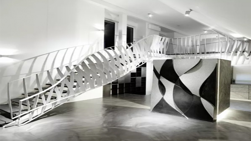 "Laser cutting machine  creats  a ""dancing"" staircase  !"