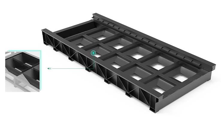 Triangular overweight welded bed